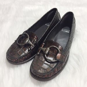 Stuart Weitzman Reptile Loafers Shoes Sz 6M Brown